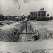 Construction of the seawall in Corpus Christi took place from 1939 to 1941. The Prince Louise Hotel is in the background on the right. The building still stands at Water and Mann, and is called The Princess Apartments.