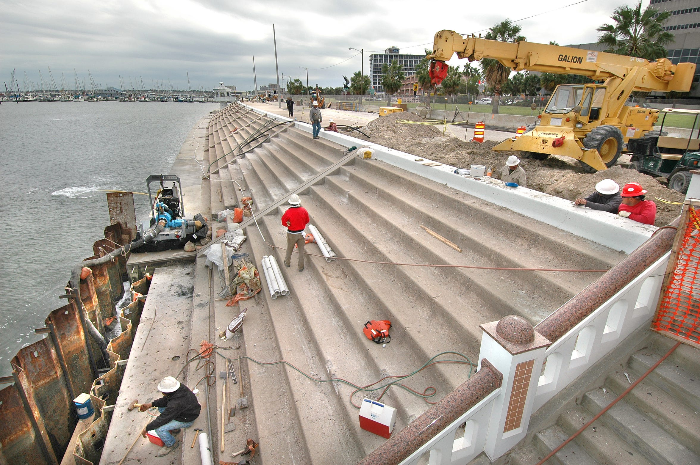 Work on the seawall is shown just south of Peoples Street on Nov. 18, 2005. The $43.4 million project began in November 2002, and was on the third of four phases of construction.