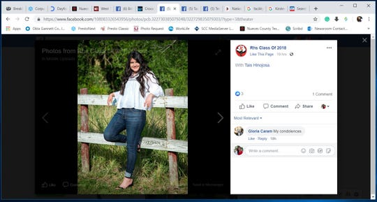 "A screenshot of a Facebook post by ""Rhs Class of 2018"" shows a photo of Tais Hinojosa who was killed in a San Antonio crash."