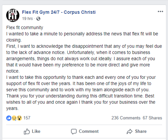 A Flex Fit Facebook post gave an explanation for the sudden closures on Monday evening.