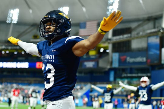 Toledo cornerback Ka'dar Hollman, a Burlington Township High School graduate, celebrates after a turnover on downs during the 2019 East-West Shrine Game at Tropicana Field on January 19 in St Petersburg, Florida.
