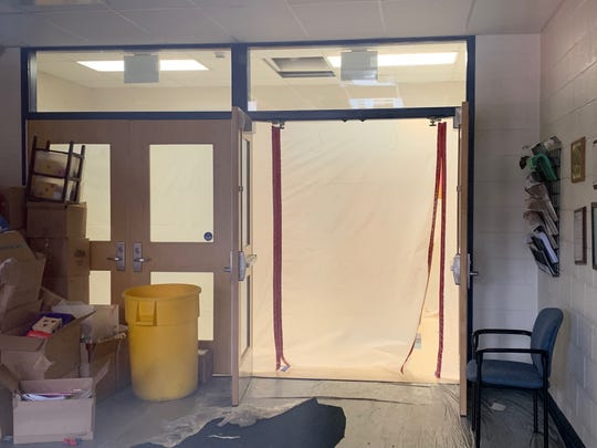 The lobby of Holly Glen School in Williamstown was sealed off March 18, 2019, while mold remediation work at the elementary school went on for two years.