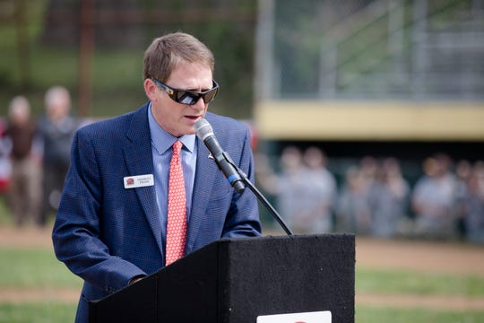 Charley Frank, Reds Community Fund director, during an event on Tuesday, April 30, 2019 to celebrating the start of the construction efforts on the baseball complex at Ross Park in St. Bernard. The project plans to renovated the baseball field, which will be renamed Frank Robinson Field, with a synthetic infield that will be the home to both St. Bernard-Elmwood Place and Roger Bacon High Schools.