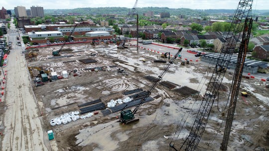 An aerial view of FC Cincinnati's stadium construction site on Friday, April 26, 2019 in the West End.