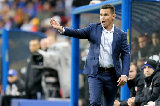 FC Cincinnati manager Alan Koch instructs the team in the first half of an MLS soccer game against the Real Salt Lake, Friday, April 19, 2019, at Nippert Stadium in Cincinnati.