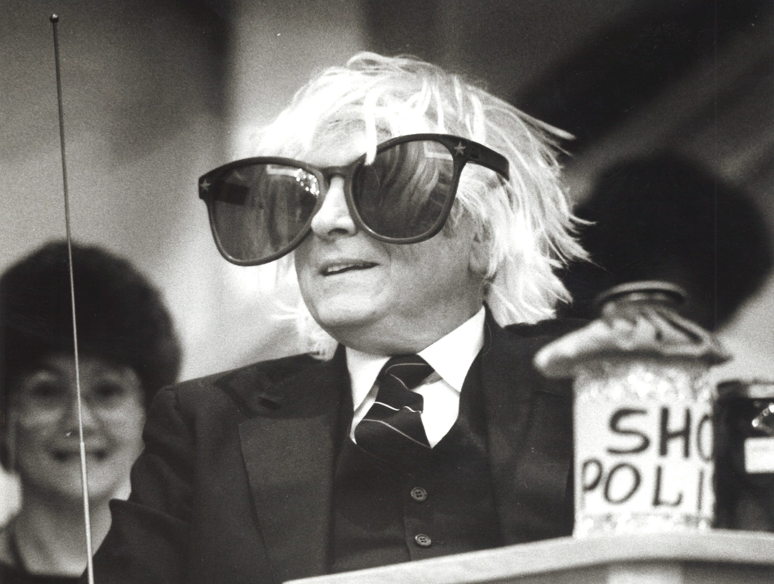 Pastor John Laida is roased during a skit at his retirement party on Dec. 27, 1987.