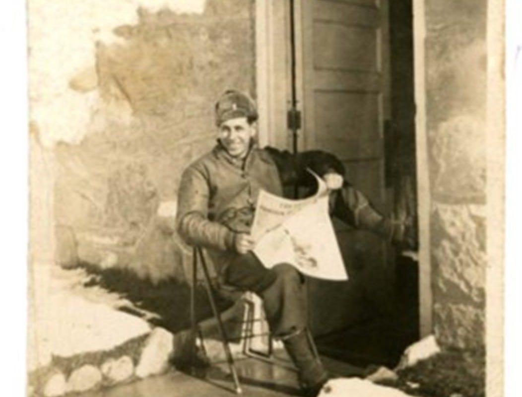 Chaplain John David Laida, in U.S. Army fatigues during World War II.