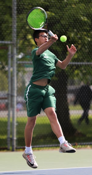 East Brunswick's Jack Wong competes in the first singles final at the GMC Tournament on Monday, April 29, 2019.