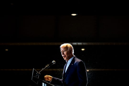 Former Vice President Joe Biden speaks to a crowd of people on Tuesday, April 30, 2019, at the Veterans Memorial Building in Cedar Rapids. This is Biden's first trip to Iowa after announcing his run for president.