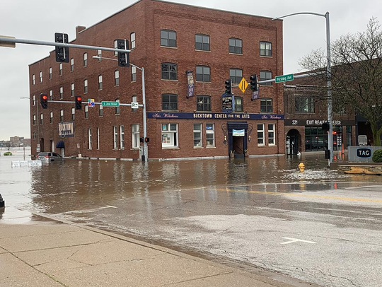 Mississippi River floodwaters in downtown Davenport on April 30, 2019, after a flood barrier broke.