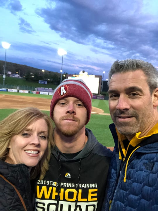 Cam Vieaux, center, pictured with his parents Amy and Brian, was the pitcher for the Altoona Curve that faced the Erie Seawolves during Casey Mize's no-hitter. Cam went to Walled Lake Western and pitched for Michigan State.