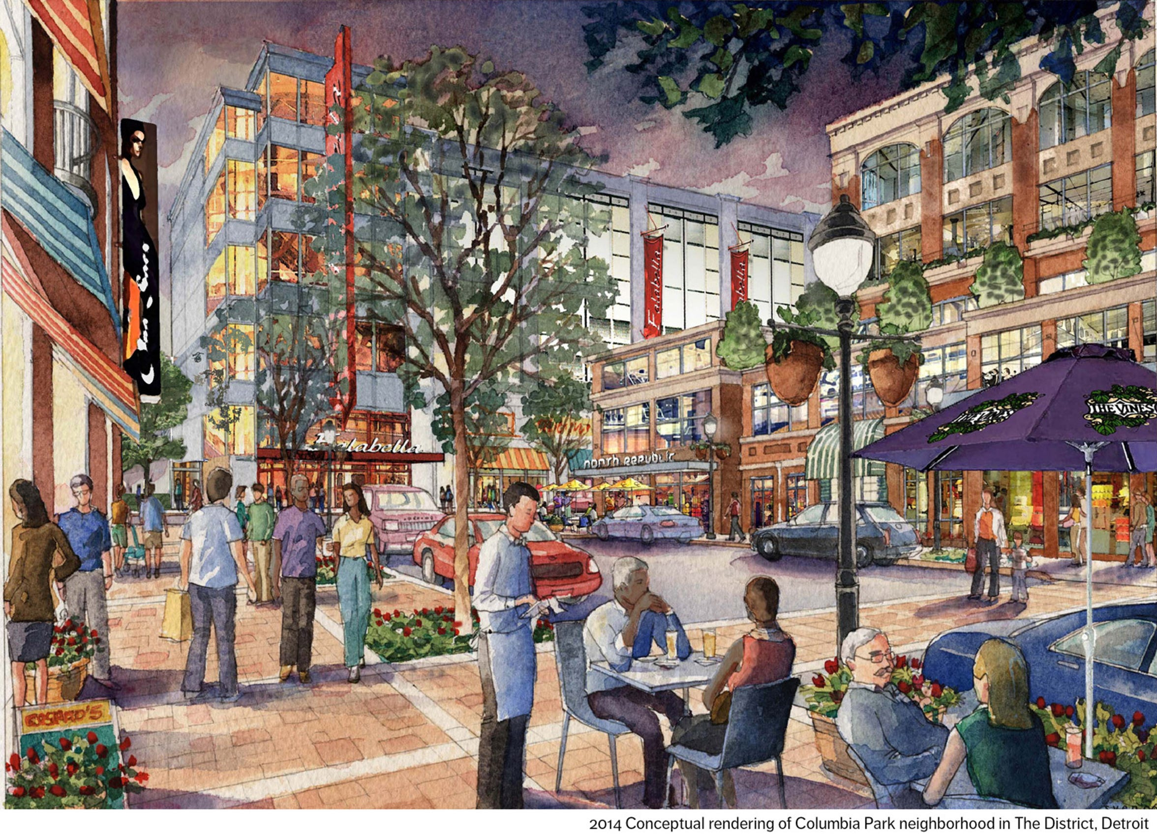 2014 Conceptual rendering of Columbia Park neighborhood in The District, Detroit, surrounding Little Caesars Arena.