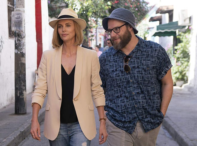 """Charlize Theron and Seth Rogen in """"Long Shot."""""""