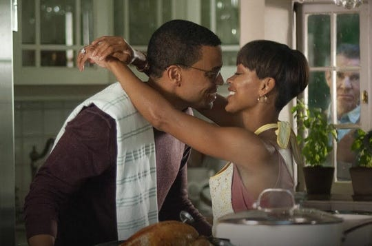 """Michael Ealy, Meagan Good and Dennis Quaid in """"The Intruder."""""""