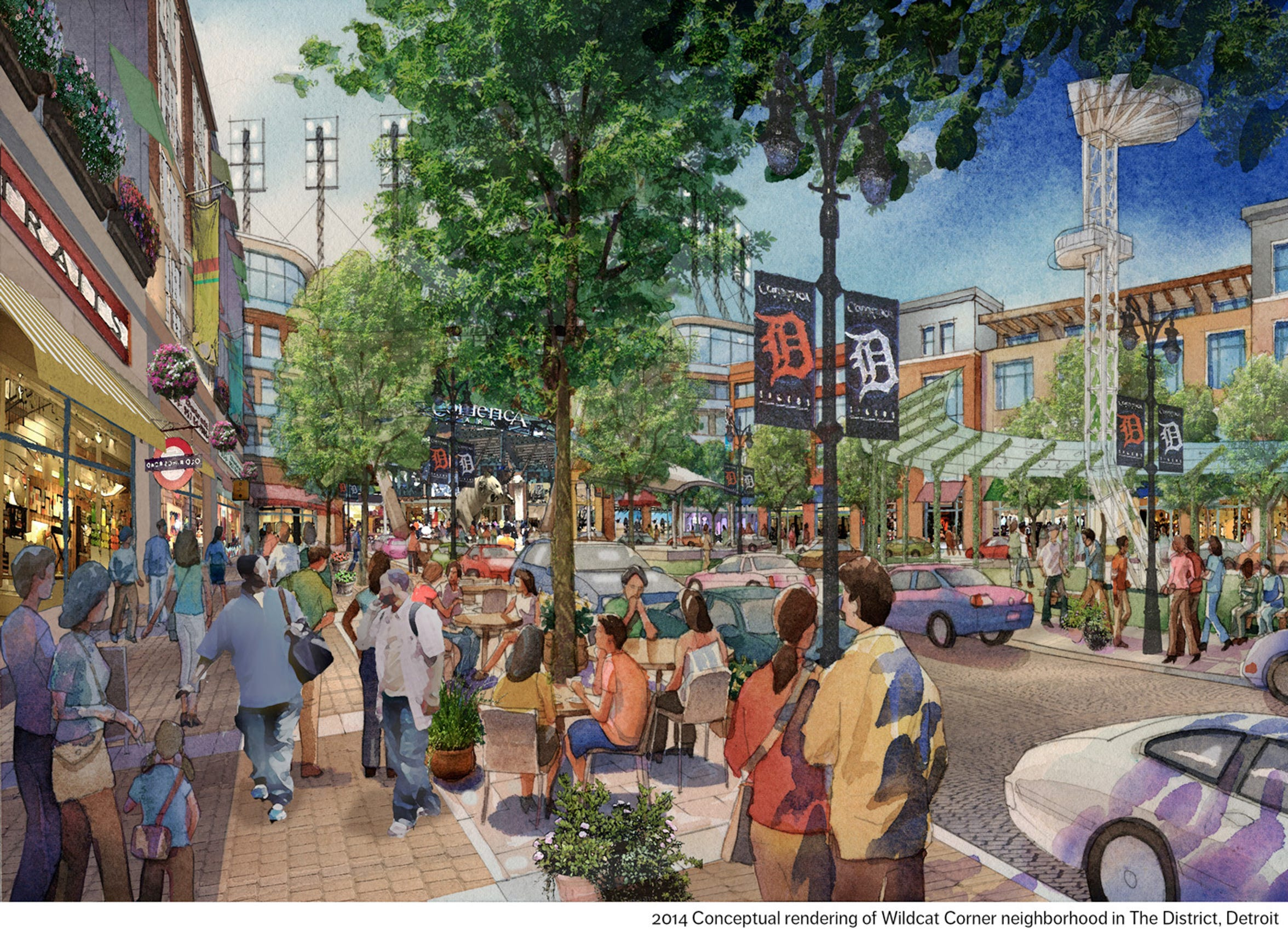 "2014 conceptual rendering of the planned ""Wildcat Corner"" neighborhood in The District Detroit."