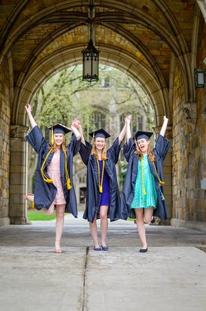 """Abby, left, Seraphina and Zoey Provenzano will part for the first time after they graduate from the University of Michigan on May 4. """"We did a good job of finding a happy medium of doing our own thing but also hanging out together,"""" Seraphina said of their time at UM."""