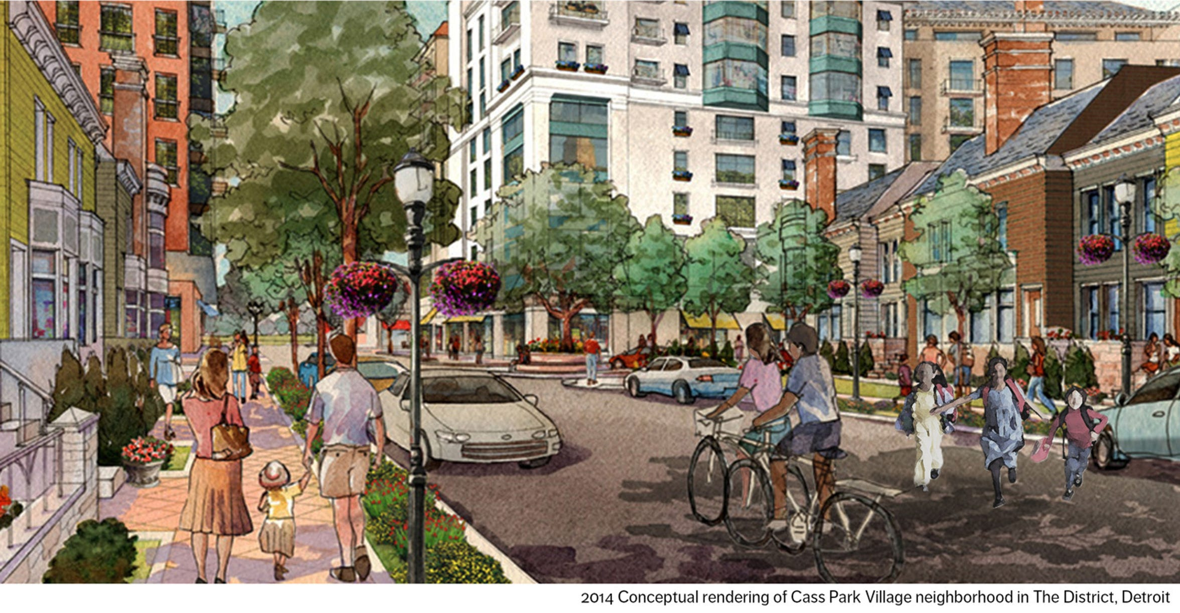 "In 2014, conceptual renderings of ""Cass Park Village"" and similarly envisioned neighborhoods were posted on the District Detroit website. Now they are gone."