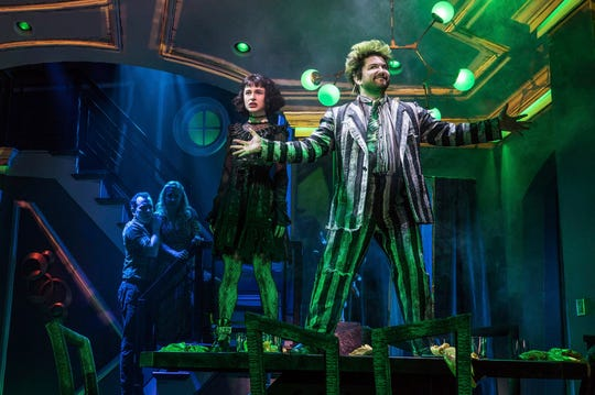 """Rob McClure, from left, Kerry Butler, Sophia Anne Caruso and Alex Brightman during a performance of """"Beetlejuice,"""" adapted from the Tim Burton film."""