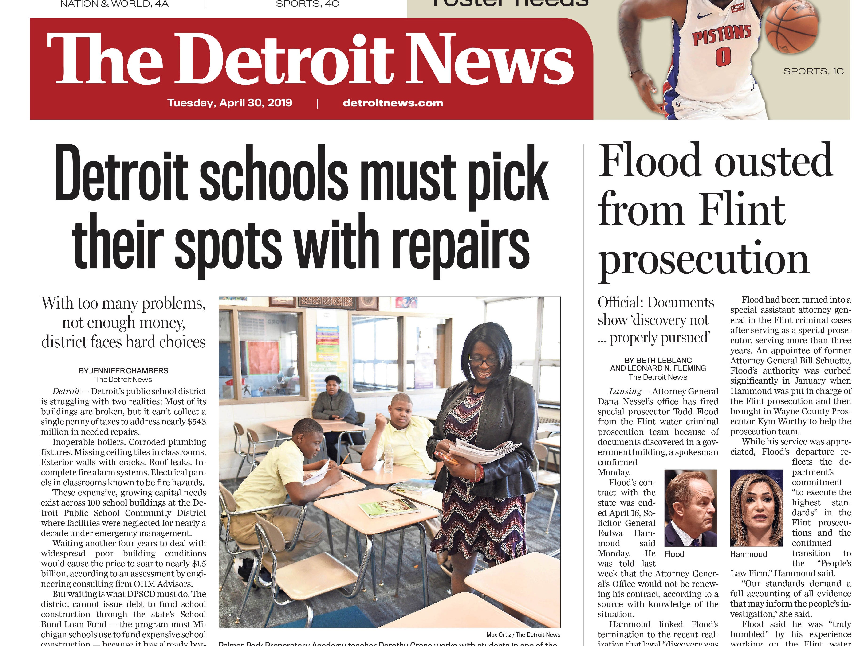 The front page of the Detroit News on Tuesday, April 30, 2019.