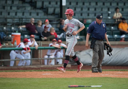 Southridge's Joe LaGrange (7) runs home during the Mater Dei Wildcats vs Southridge Raiders baseball game at Bosse Field Monday, April 29, 2019.