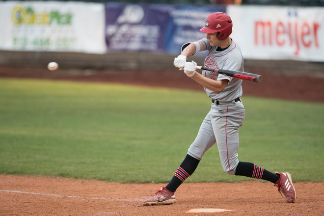Southridge sophomore Colson Montgomery (2) swings at the ball against Mater Dei at Bosse Field on April 29. He is being recruited to play college baseball and basketball.