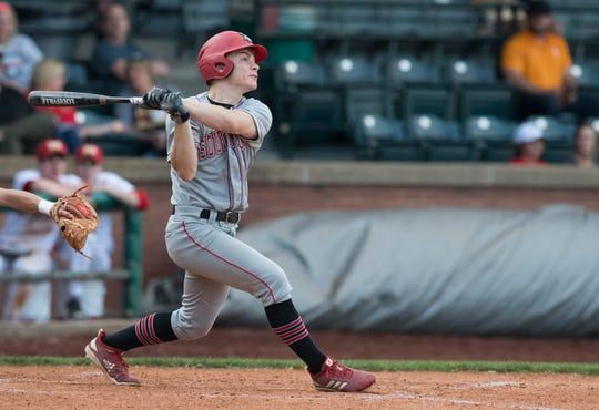 Southridge's Tucker Schank (8) hits the ball during the Mater Dei Wildcats vs Southridge Raiders baseball game at Bosse Field Monday, April 29, 2019.