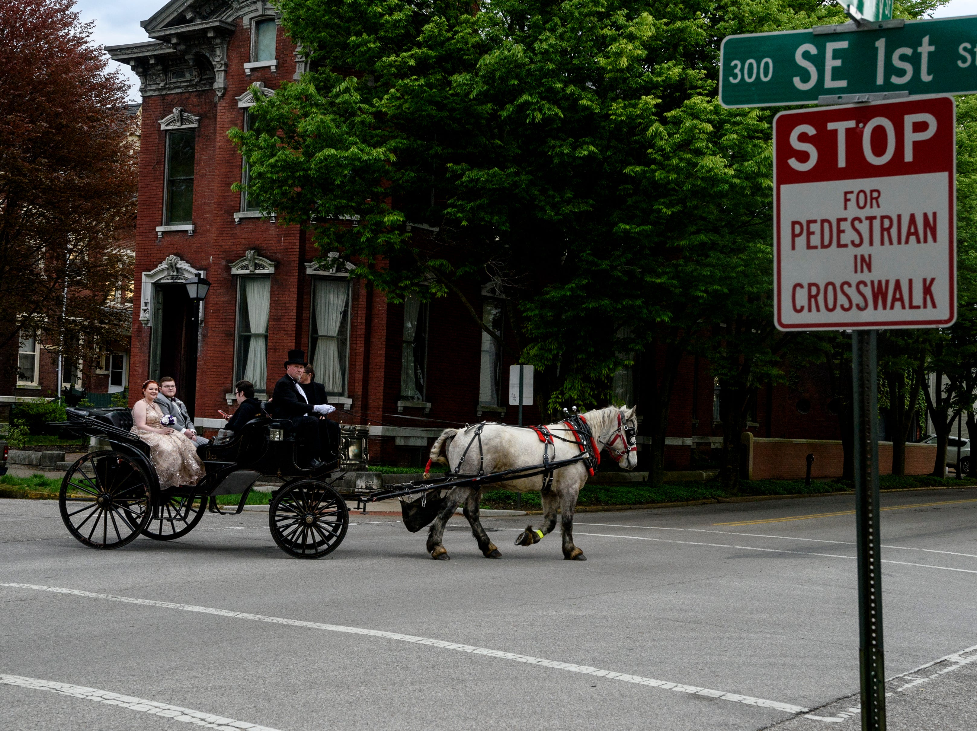 Randy and Sheila O'Risky of Horseshoe Bend Carriage Co. lead Castle High School students Rachel Landrum, Conner Gorman and Seth Cox through the intersection of Southeast First and Cherry Streets before attending prom in downtown Evansville, Ind., Saturday, April 27, 2019. Landrum and Gorman, far right, had Cox, center, take pictures of them during their ride around downtown before being dropped off at Old National Events Plaza for the dance.