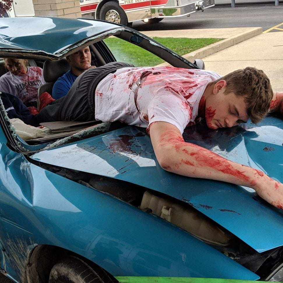 Mock crash reminds students of dangers of drinking and driving