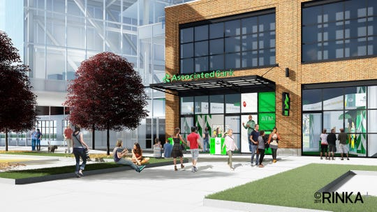 Artist's rendering of Associated Bank branch planned for TitletownTech building in Green Bay Packers' Titletown District.