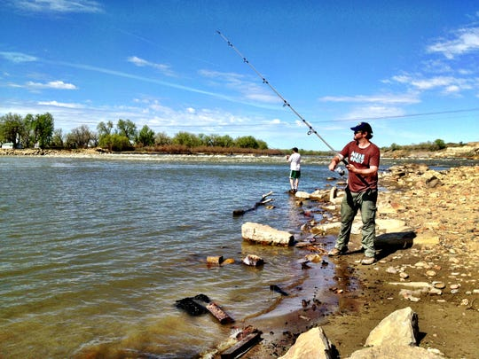 Shane Matiko, of Saskatchewan, Ca., fishes for paddlefish at the Intake Fishing Access Site on the Yellowstone River near Glendive a few years ago..