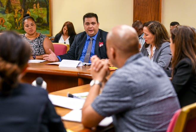 In this file photo, Cannabis Control Board member William Parkinson addresses other members of the Board during their inaugural meeting held April 30, 2019 at Adelup.