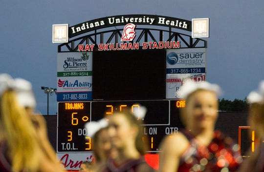 The scoreboard at Center Grove High School during an IHSAA varsity football game, Friday, Sept. 2, 2016, at Center Grove High School. Center Grove won, 19-6.