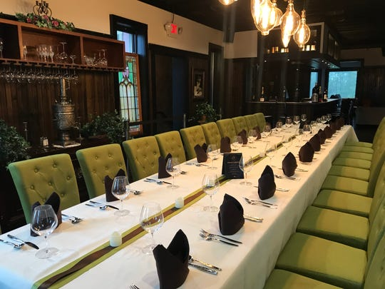 The by-reservations-only Upper Room at The Point on Penn hosts a grand, 24-seat chef's table, stained-glass windows that long-decorated Elbow Room and a  lofty bronze samovar engraved with flowers and curlicues on a sideboard. The restaurant opened in spring 2019 at the former Elbow  Room in downtown Indianapolis.