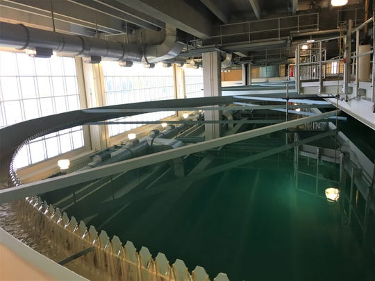 The water clarifier rotates millions of gallons of water at a time helping sediment to settle out of the solution. Clarified water will eventually drain over the side of the basing where it will be recarbonated, passed through a carbon filter and chlorinated.