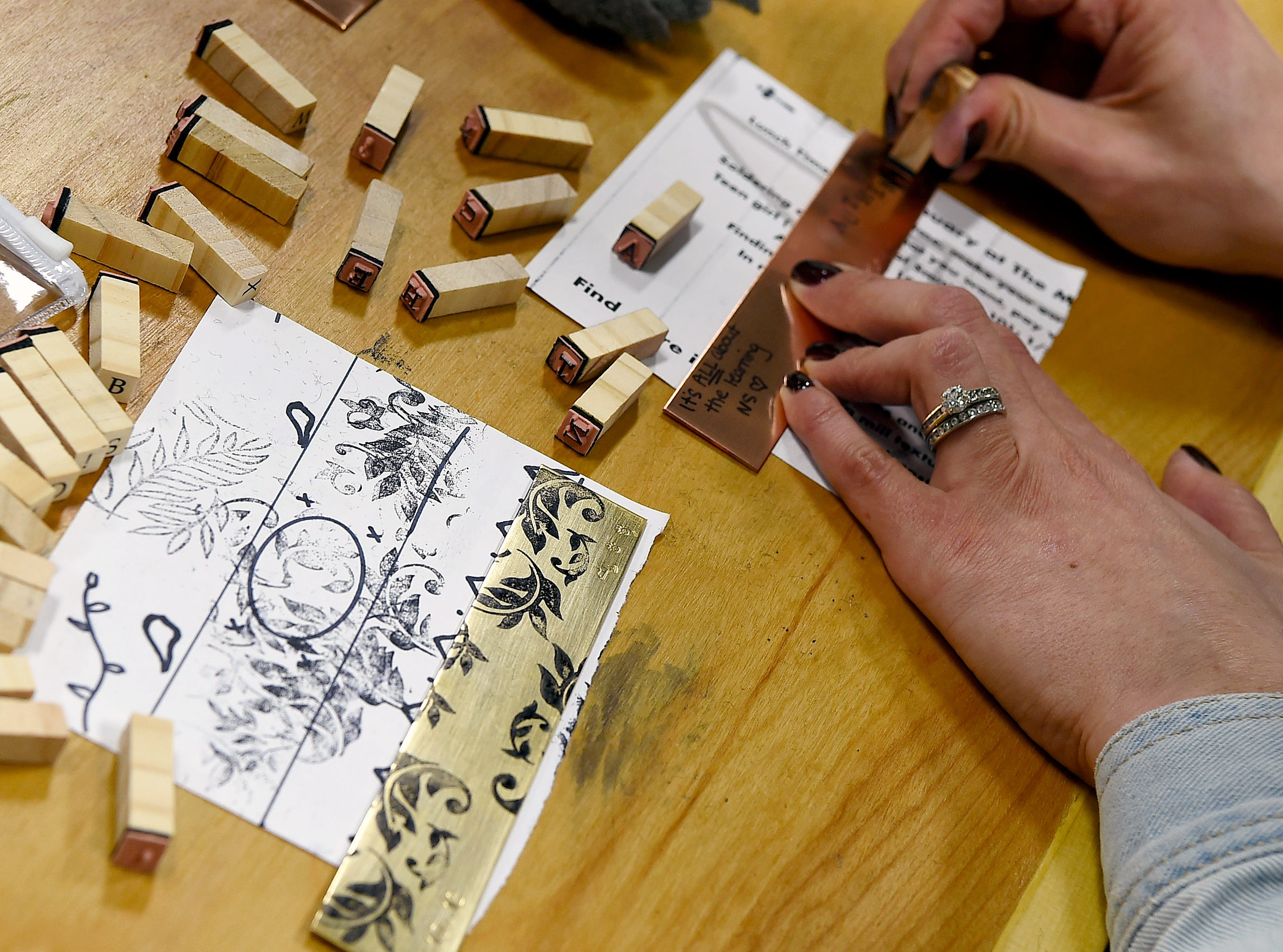 A student works on a project at The Metal Smithery in the South Hill Business Campus on Danby Road. Founded by metalsmith Elaan Greenfield, The Metal Smithery offers a variety of creative classes.
