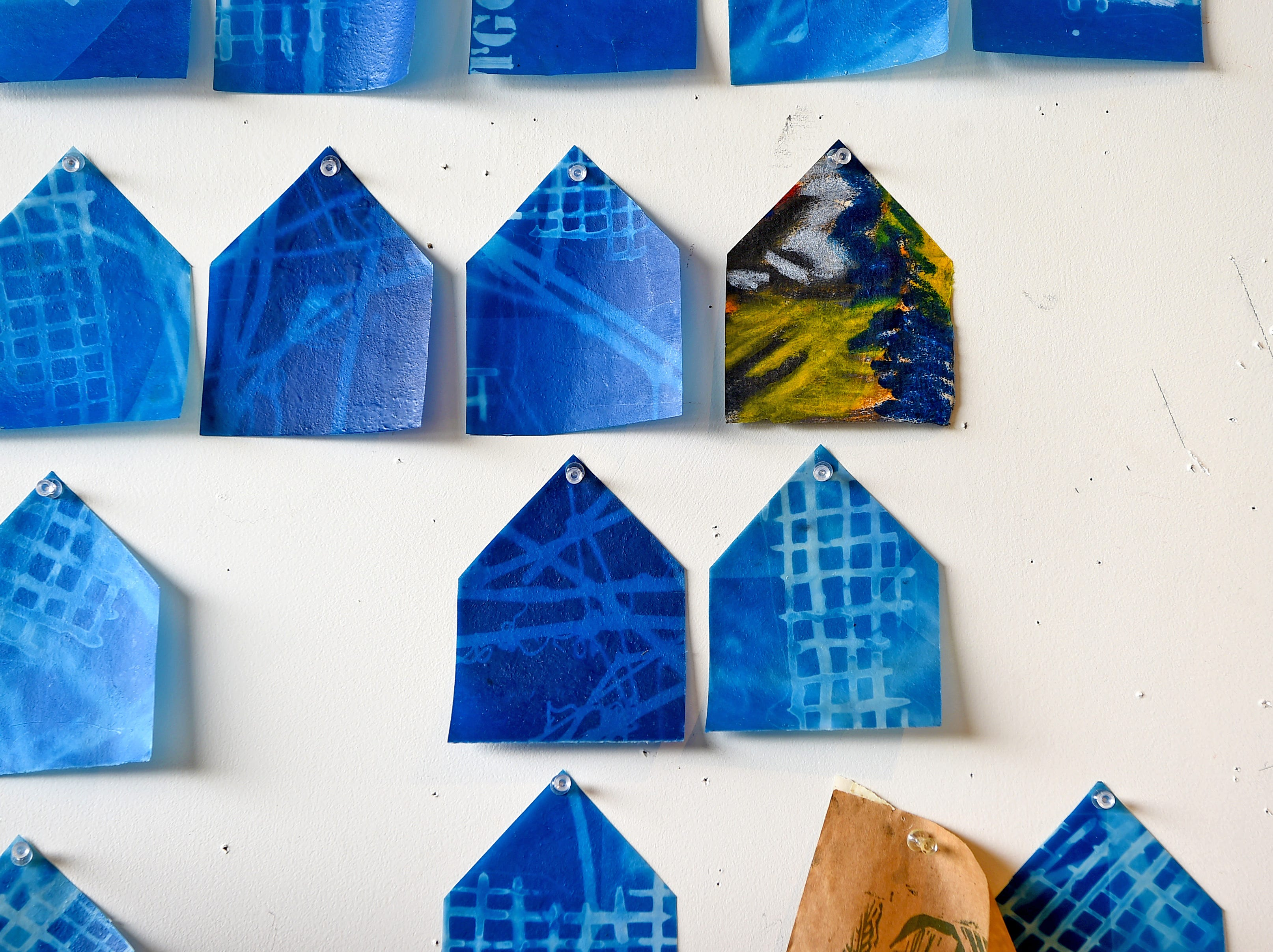 A detail of work by printmaker and Ithaca College lecturer  Pamela Drix. Drix's studio, Dock 6 Studio, is located in Artist Alley at South Hill.