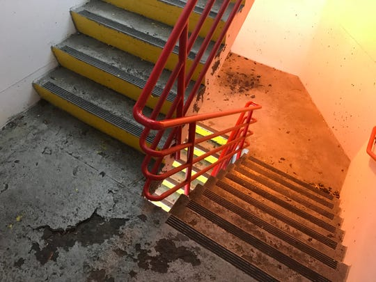 The staircase in the Dryden Road Parking Garage is deteriorating.