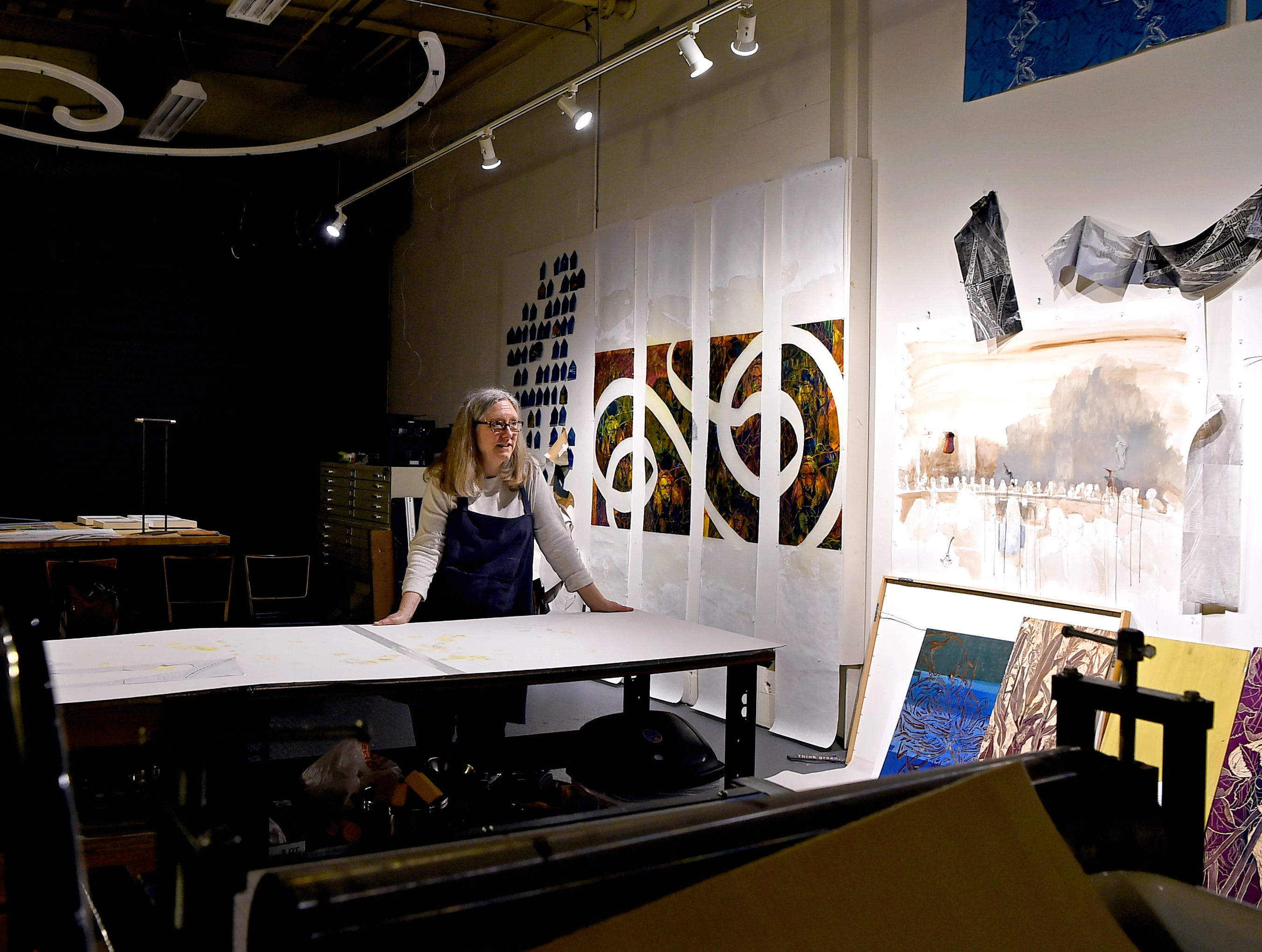 Printmaker and Ithaca College lecturer Pamela Drix in her studio, Dock 6 Studio, in Artist's Alley at South Hill. Once a large industrial space in the South Hill Business Complex on Danby Road, Artist's Alley has recently been transformed into a growing hub of art studios.