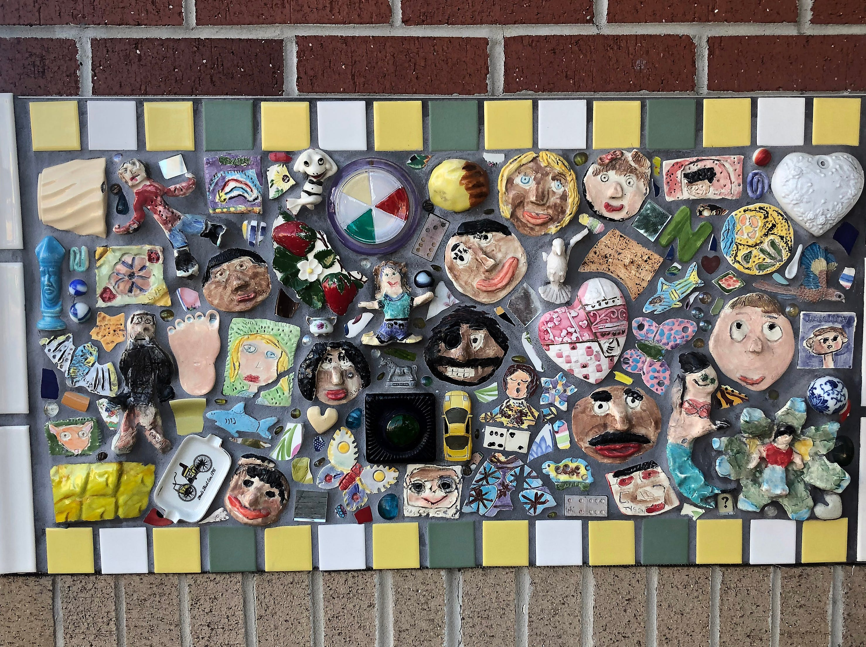 This column, decorated with artwork, is on the campus of Battle Academy, a magnet school for grades K-5 in the heart of the Southside of downtown Chattanooga.