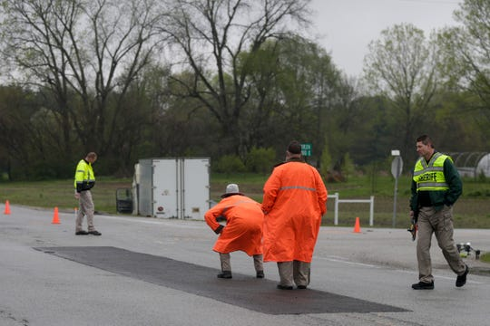 Emergency crews work the scene of a fatal crash at the intersection of State road 26 E. and 900 E., Tuesday, April 30, 2019 in Lafayette.