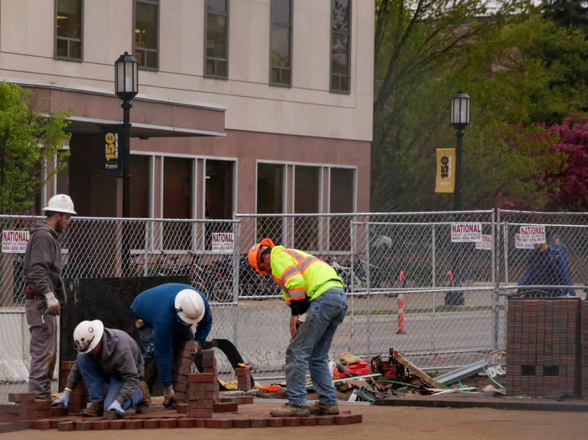 Work continues on a new gateway at the corner of W. State st. and Grand st., Tuesday, April 30, 2019 at Purdue University in West Lafayette.