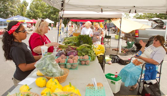 Gaby Brooks and her mother Janet Brooks, both from Livonia, select produce from Roeske Farms' booth as they talk to Patty Roeske at the Hartland farmers market on Aug. 9, 2014.