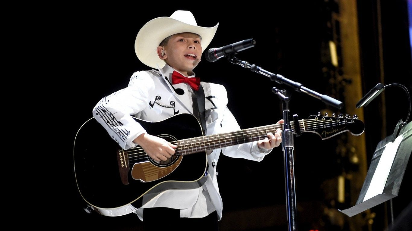 """Mason Ramsey is a 12-year-old country music singer from Golconda, Illinois signed deals with Atlantic Records and Nashville-based Big Loud last year. His debut single is called """"Famous."""""""