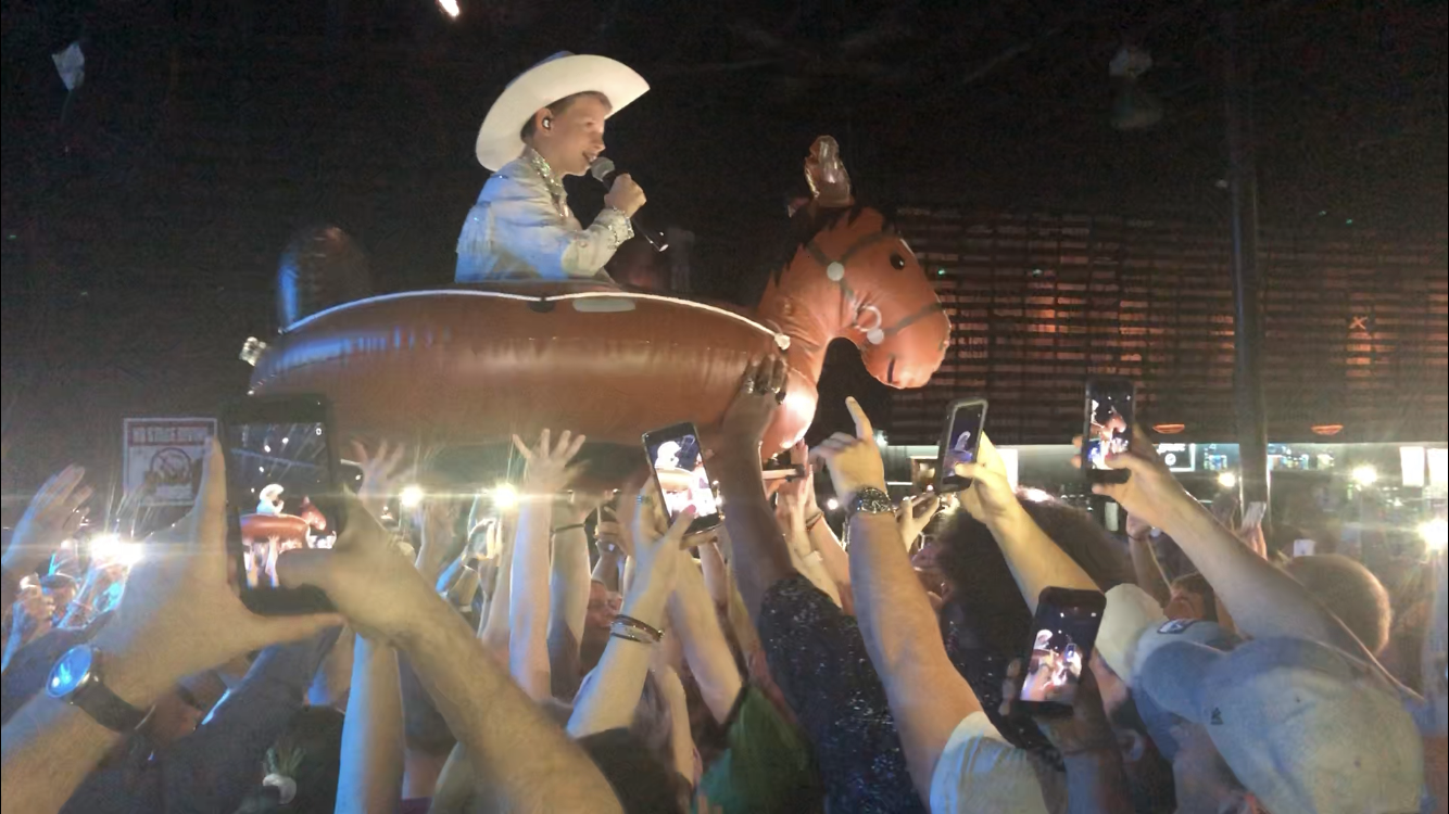 Mason Ramsey, 12, crowd-surfed in an inflatable horse during an April 24 show at Nashville's Exit/In.