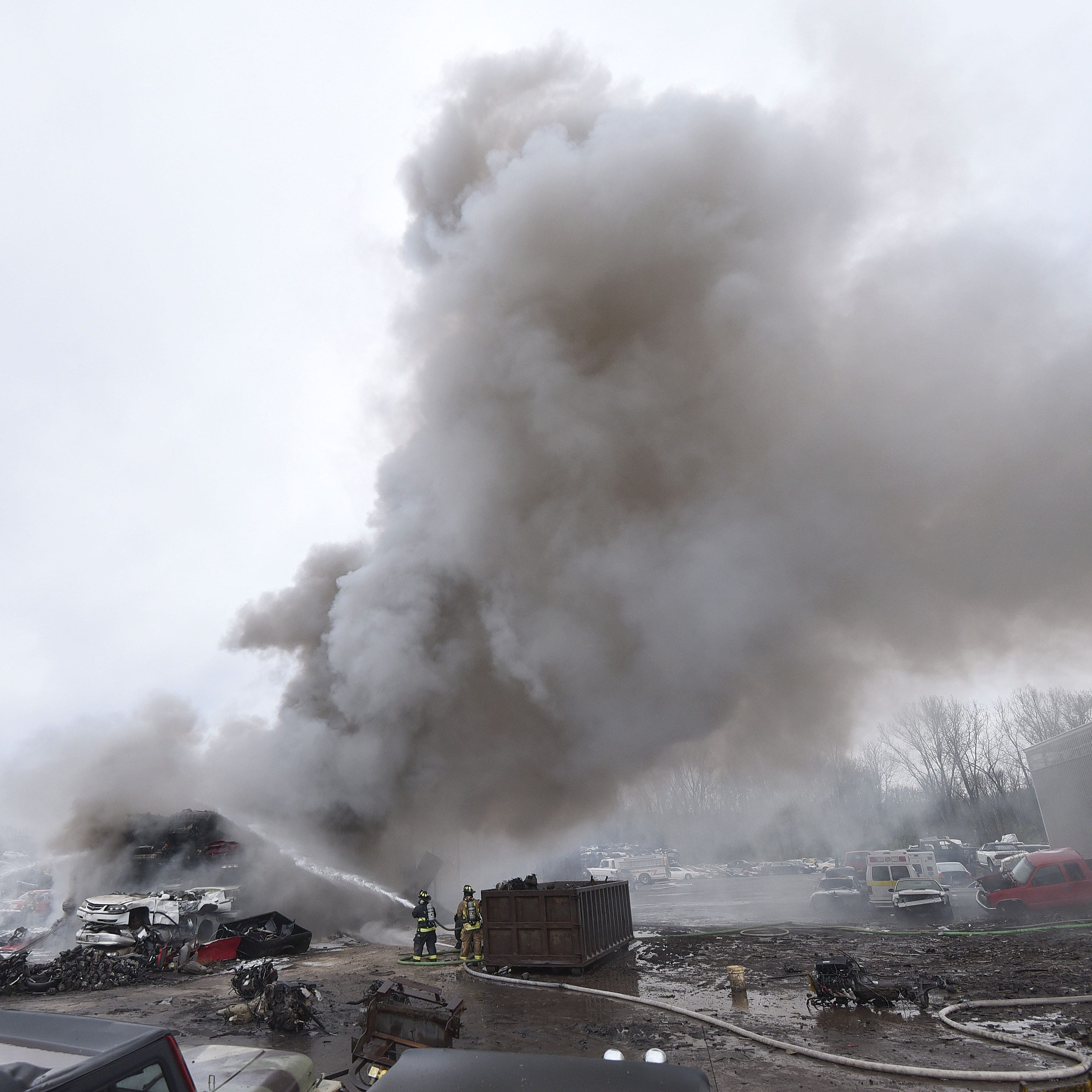 Firefighters battle blaze at Tucker Brothers Auto Wrecking