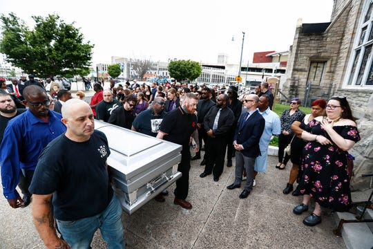 Members of Skinheads Against Racial Prejudice (SHARP) carry the casket of Omar Higgins, the bassist and leader of reggae band Chinese Connection Dub Embassy and hardcore punk band Negro Terror, into Clayborn Temple for his funeral on Tuesday, April 30, 2019. Higgins, was a longtime member of SHARP, that helped to fight against racism.