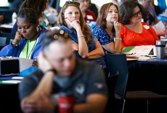 Participants attend a West Tennessee opioids summit at the FedEx Event Center at Shelby Farms Tuesday, April 30, 2019.
