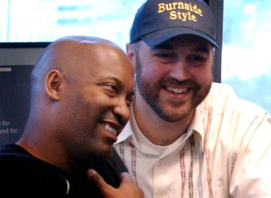 "John Singleton, left, and Craig Brewer  teamed up to make the movie ""Hustle & Flow"" in Memphis."