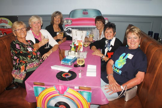 Ready for fun are Kathleen Reynolds, Hildie Kyes,  Billie Maine, Pam Cote, Pat Matthews and Pat Hagedorn.
