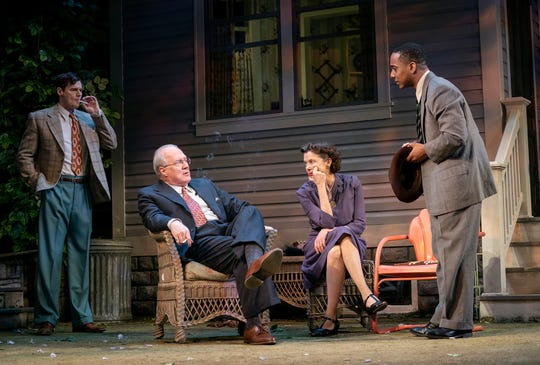 "Benjamin Walker, Tracy Letts, Annette Bening and Hampton Fluker perform a scene from ""All My Sons."""